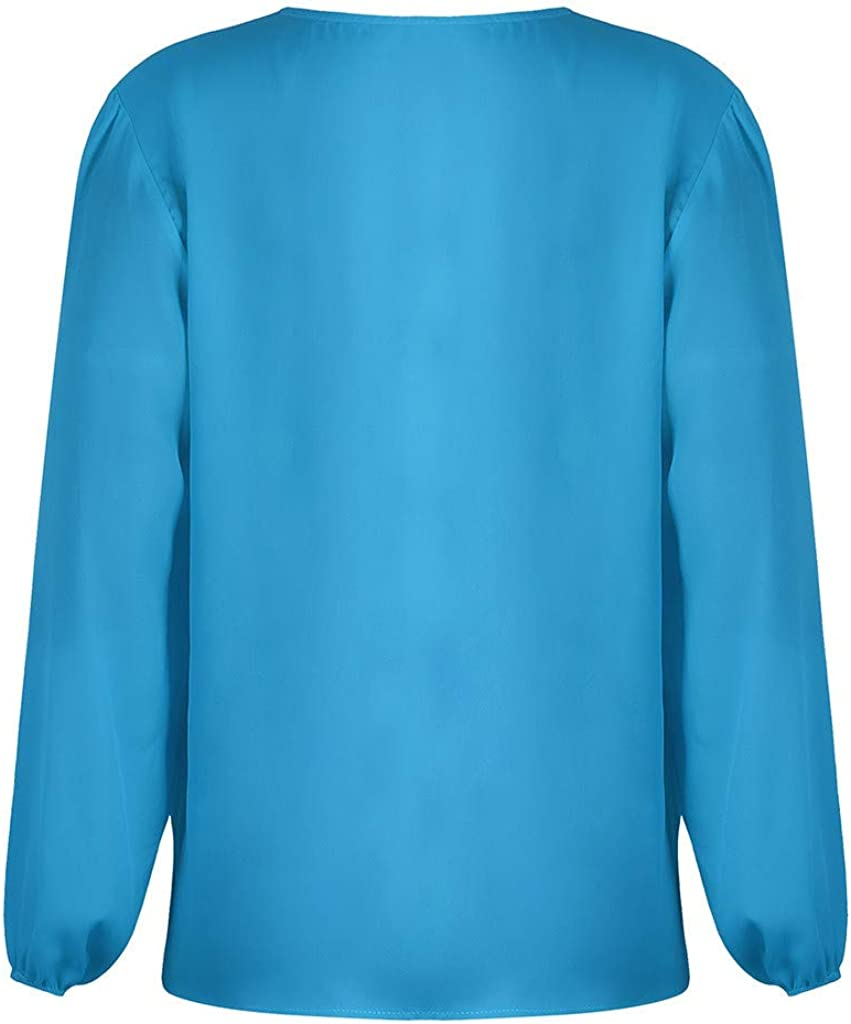 Exteren Womens Winter Sweatshirt Solid Color Long-Sleeved V-Neck Button Blouse Green
