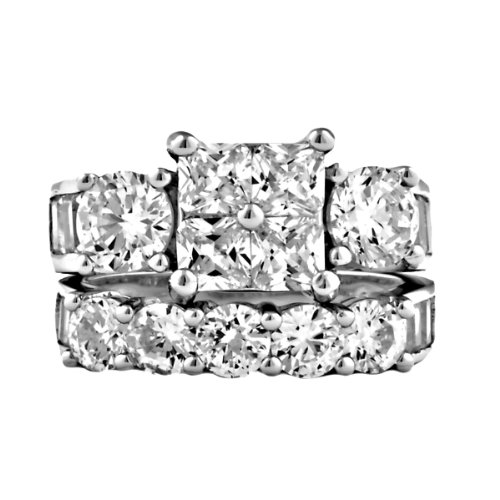 Sterling Silver 8.15ct Russian Ice on Fire CZ - Fire And Ice Wedding Ring Sets
