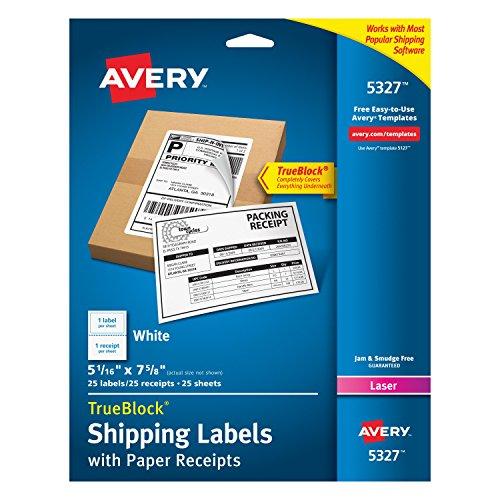 Avery Shipping Receipt TrueBlock Technology