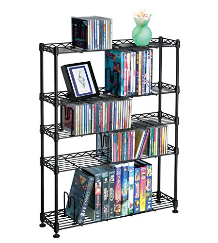 (Atlantic Maxsteel 8 Tier Shelving - Heavy Gauge Steel Wire Shelving for 440 CD/228 DVD/264 BluRay/Games Media in Black - 3020 )
