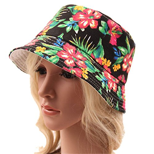 Lary intel Fashion 2016 New Summer Bohemian Style Printing Stripe Lattice Women's Sun Hat Bucket Hat (H)