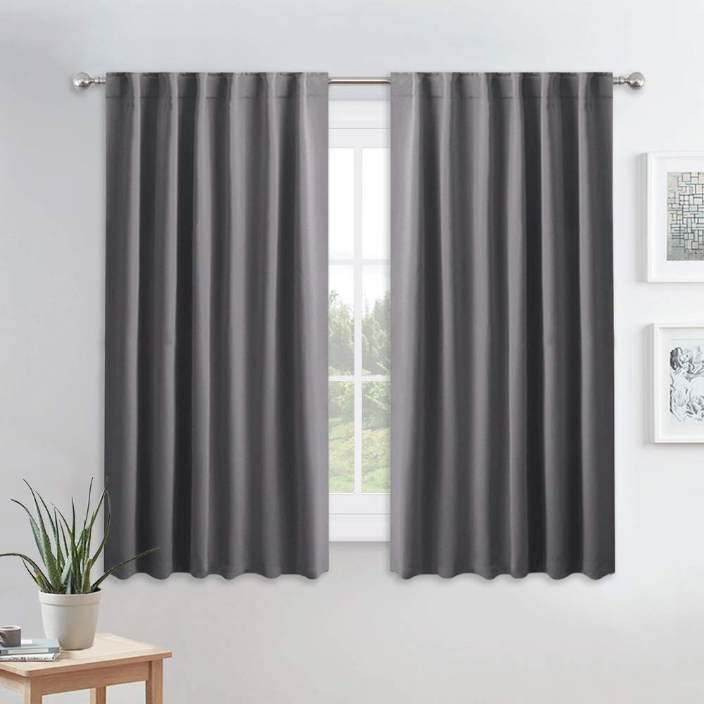 PONY DANCE Blackout Curtains for Bedroom - 54 Inches Long Curtain Drapes with Back Loops Plus Rod Pocket Design Privacy Protect Energy Saving, 52 W x 54 L, Dark Gray, 1 Pair