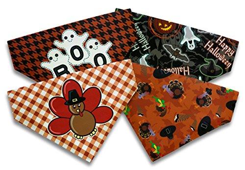 Dog Dog Halloween Costume Thanksgiving Fall Big Dog Bandanas 4-Pack Scarves Dogs Bibs ()