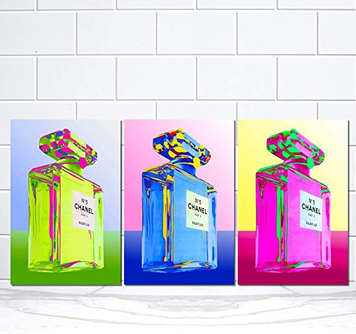 (Set Fashion Wall Pop Art Glam Decor Designer Perfume Bottle Print Poster)