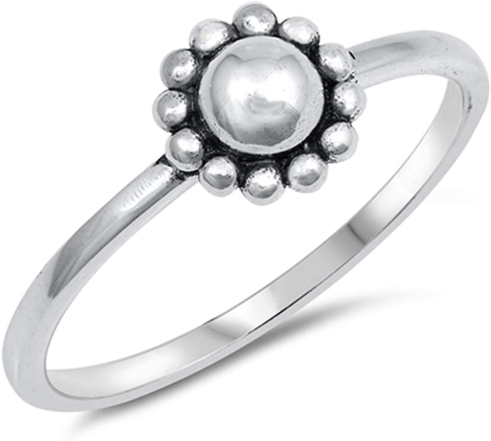 Oxidized Ball Bead Halo Sun Flower Ring New .925 Sterling Silver Band Sizes 3-10