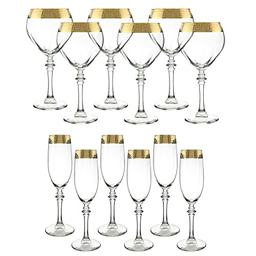 Italian Glass Barware set, Versace Greek Key Inspired Glassware, 6 piece Wine Goblets For Red Wine Or White Wine And 6-piece Set Of 14k Yellow Gold Champagne Flutes, Perfect Gift Authentic (GOLD)