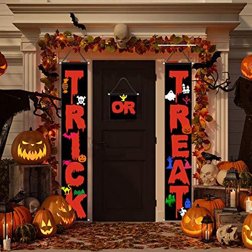 Halloween No Trick Or Treaters Sign (Halloween Decorations Outdoor,3pcs Trick or Treat Halloween Banner for Front Door or Indoor Home Decor,Halloween Hanging Sign,Porch Decorations,Halloween Welcome)