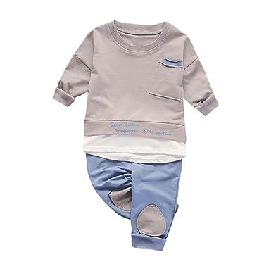 b7f7330fe7d07 SHOBDW Boys Clothing Sets, 2PCS Infant Baby Kids Boys Fashion Cool Tops  Shirt Pants Set Suit Outfits Clothes: Amazon.co.uk: Clothing