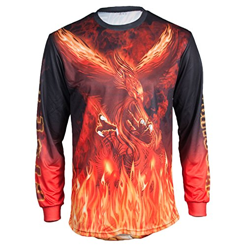 Motocross Off Road Motorcycle Jersey by KO Sports Gear - Red Phoenix Design (Youth (Fox Race Frame)