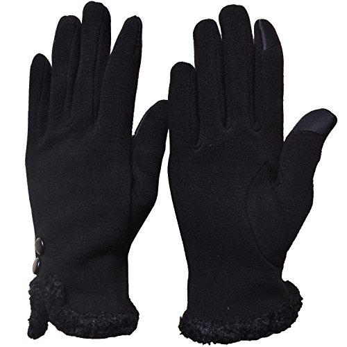 Fleece Windproof Gloves (Womens Lady Thick Winter Screentouch Gloves Dot Fleece Windproof Warm Mittens (Fluff - Black))