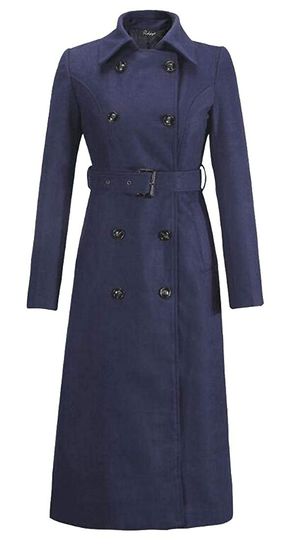 2 Alion Women Casual Double Breasted Long Woolen Parka Coats