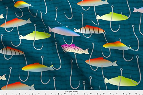 Fishing Lures Fabric Alluring Lures by Mrshervi Printed on Basic Cotton Ultra Fabric by the Yard by Spoonflower