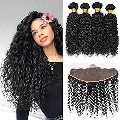 Malaysian Curly Virgin Hair 4 Human Hair Bundles With Frontal Closure 4  Bundles With 13x4 Ear To Ear Lace Frontal Virgin Hair Weave Extensions  Natural Color ... 4dd7cef908