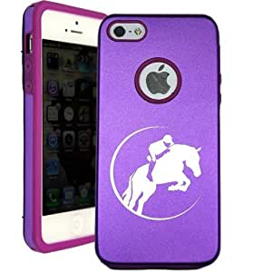 SudysAccessories Horse Riding Jumping iPhone 5 Case iPhone ipod touch4 Case - MetalTouch Purple Aluminium Shell With Silicone Inner Protective Designer Case