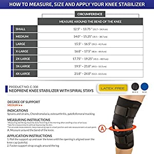 OTC Knee Stabilizer, Spiral Stays, Neoprene, Black, Medium