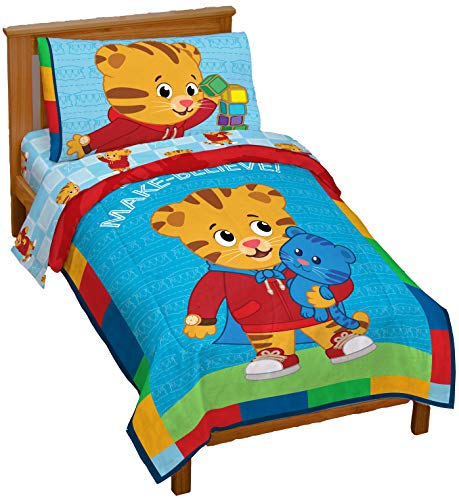 Jay Franco Daniel Tiger's Neighborhood 4 Piece Toddler Bed Set - Super Soft Microfiber Bed Set Includes Toddler Size Comforter & Sheet Set - (Official Daniel Tiger's Neighborhood Product) ()