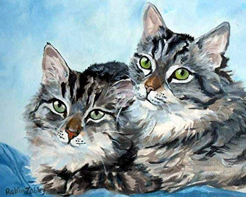 Amazon Com Tabby Cat Art Print From Original Oil Painting Signed By Artist Gray Striped Green Eyes Handmade
