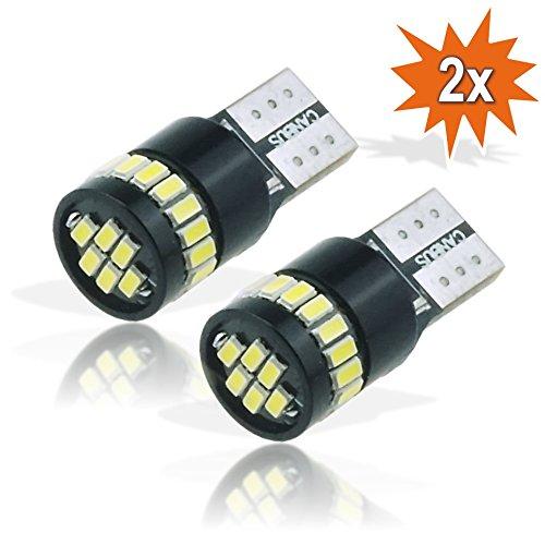 Lot de 2 LED Canbus W5W T10 30 x SMD 3014 Veilleuse Feux de stationnement Base en verre 12 V Blanc look Xenon 6500&nbsp Do!LED T10_18_3014_CB