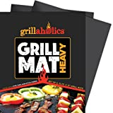Grillaholics BBQ Grill Mat Heavy - 600 Degree Max Temperature Grilling Sheets - Set of 2 Grill Mats Non Stick - Lifetime Manufacturer Warranty