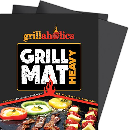 Grillaholics BBQ Grill MatHeavy - 600 Degree Max Temperature Grilling Sheets - Set of 2 Grill Mats Non Stick - Lifetime Manufacturer Warranty