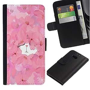 APlus Cases // HTC One M8 // Rosa floral primavera gatito lindo acuarela // Cuero PU Delgado caso Billetera cubierta Shell Armor Funda Case Cover Wallet Credit Card