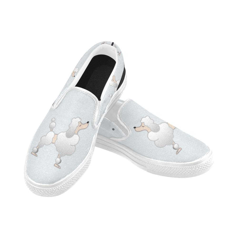 Summer Canvas Shoes Animals Nature Wildlife Repeating Flat Poodle Canvas Slip-on Casual Printing Comfortable Low Top Non Slip Resistant Shoes for Men