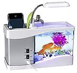 Vacio USB Desktop Aquarium Mini Fish Tank with LED Lamp LCD Time Clock Alarm Colorful LED Lamp Light Calendar Holds for Home Office Decor (White)