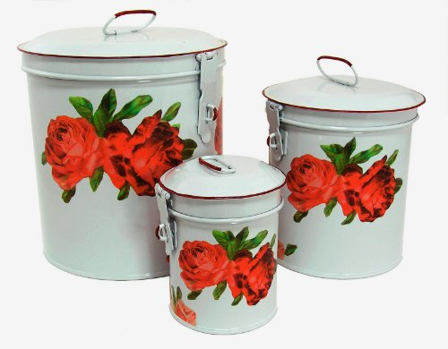 White Canister Set w/ French Chic Red Roses, Vintage Shabby Chic Canister Set ~ E6 Kitchen Storage Canisters ~ Decorative Containers ~ Shabby Chic White Enamel Finish