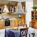 Vintage Wood Beaded Chandelier Wood Metal Chandeliers Light Ceiling Pendant Lamp for Dining Room, Living Room, Bedroom, Entryways, Foyer