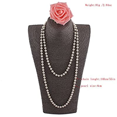 Grace Jun Created/Faux Pearl Necklace Pendants for Women Party Long Pearl Necklace 55'' for cheap