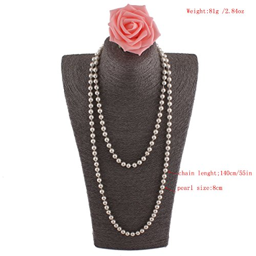 Grace Jun Created/Faux Pearl Necklace Pendants Women Sweater Chain Long Pearl Necklace (Grace White Pearl)