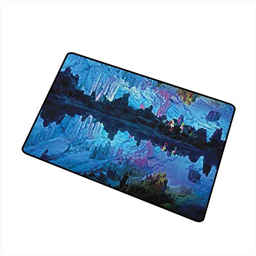 (Wang Hai Chuan Natural Cave Universal Door mat Illuminated Reed Flute Cistern with Artifical Crystal Palace Myst Cave Image Print Door mat Floor Decoration W15.7 x L23.6 Inch Blue)