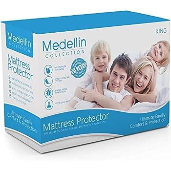 Medellin Collection Premium Hypoallergenic Waterproof King Mattress Protector - Vinyl Free...
