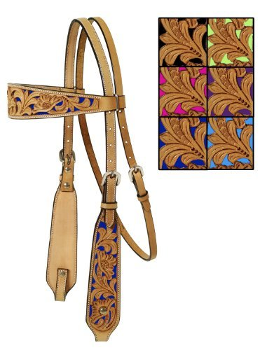 Mesquite Canyon Floral Tooled Headstall Horse Natural/Lime