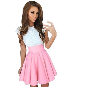 a8be8c90dc Amazon.com   Lace Party Cocktail Mini Dress Ladies Summer Short Sleeve  Skater Dresses (M