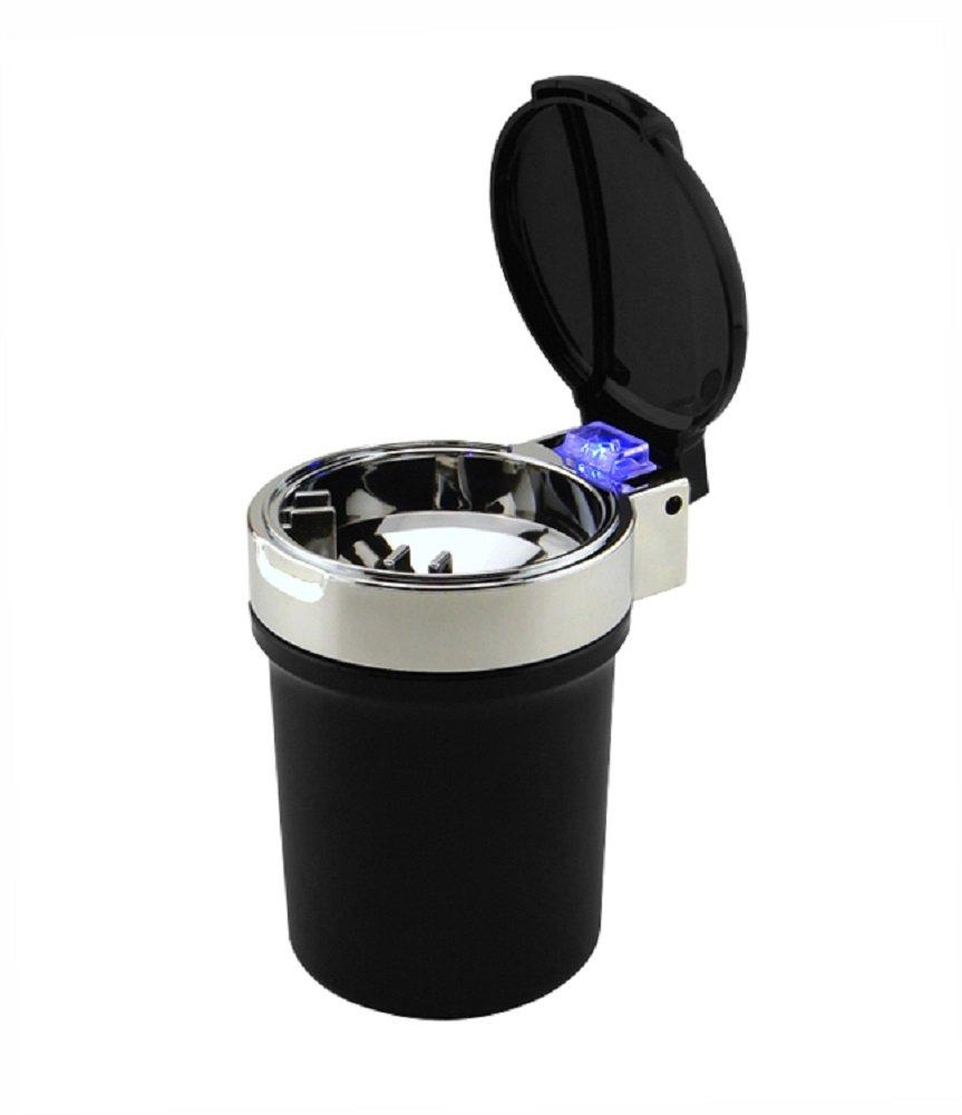 DEBAIJIA Posacenere per Auto Portatile USB Ricaricabile con Tazza LED Argento