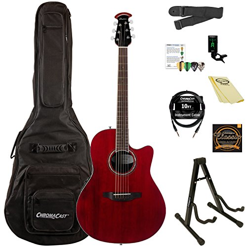 Ovation Celebrity Standard Solid Spruce Top Acoustic-Electric Guitar Kit with ChromaCast Accessories, Ruby Red