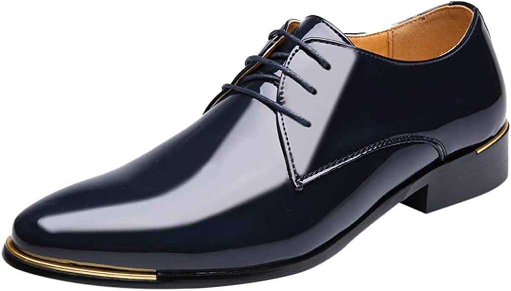 Corriee Mens Bright Leather Shoes Pointed Toe Business Flats Dress Shoes for Wedding Party Work