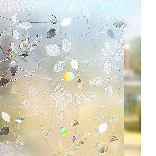 "Amazon.com: Rabbitgoo Frosted Glass Window Film Static Cling Privacy Film Non-Adhesive Opaque Window Film Frosted Leaf Window Coverings for Front Door/Sidelights, Replacements for Blinds 35.4""x 70.8""(90x180cm): Home & Kitchen"