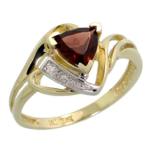 10k Gold Natural Garnet Ring Trillium Cut 6mm January Birthstone Diamond Accent 1/2 inch wide, size 7 by Silver City Jewelry