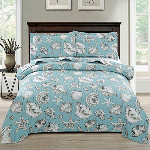 Junsey Beach Quilts Set King Size Seashell Conch Bedspreads3Pcs Ocean Theme Starfish Coverlet Set Lightweight Quilt Reversible Bedding Cover Pillow ShamsBlue
