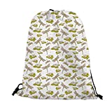 Dragonfly Nice Drawstring Bag,River Side Flowers Loddon Lilies Leaves with Mosaic Pattern Like Wings Image For traveling,17.7'L inches x 14.1'W inches