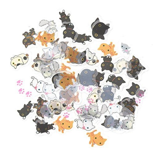Cute Cats Stickers Transparent Diary Scrapbooking Labels Decorative Tags 80 - Cat Transparent Pictures