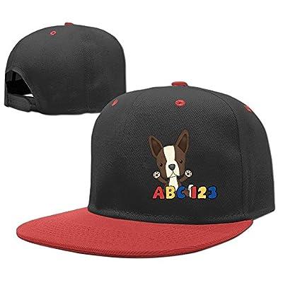 Kocvbng I Cute Cartoon Boston Terrier Boy and Girl Hip Hop Baseball Hat Youth Size Cap