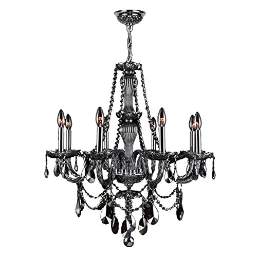 (Worldwide Lighting Provence Collection 8 Light Chrome Finish and Smoke Crystal Chandelier 28