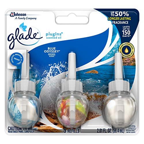 Glade PlugIns Scented Oil Air Freshener Refill, Blue Odyssey, 3 refills, 2.01 fl ()