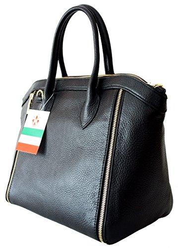 2301fb7959c2a Sa-Lucca echt Leder Handtasche Damentasche Shopper Ledertasche schwarz Made  in Italy ...