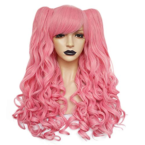 Anogol Hair+Cap Pink Long Curly Cosplay Wig With Two Ponytails For Princess Lolita Cosplay Wig Synthetic Wig For Cosplay Costume Party Halloween Beauty Wig