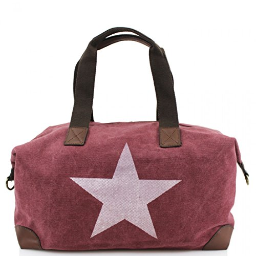 amp; Handle Print Star Cross Grab Bag New Strap Red Canvas Twin With Body Z0qx8U4