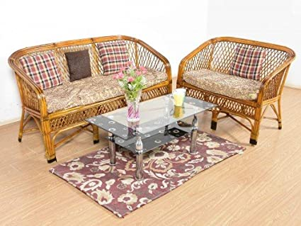 IRA Cane 5 Seater Bamboo Sofa Set With Cushions (Brown): Amazon.in: Home U0026  Kitchen